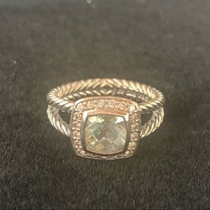 David Yurman Petit Albion Ring Prasiolite Diamonds